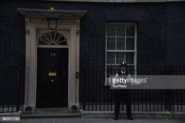 British Prime Ministe headquarter's iconic door in Downing Street is pictured in London on June 5 2017 Metropolitan Police is hard working after the...