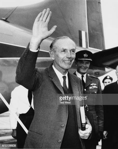 British Prime Minister Alec DouglasHome arrives at Northolt Airport from Aberdeen after an audience with the Queen at Balmoral 15th September 1964 He...