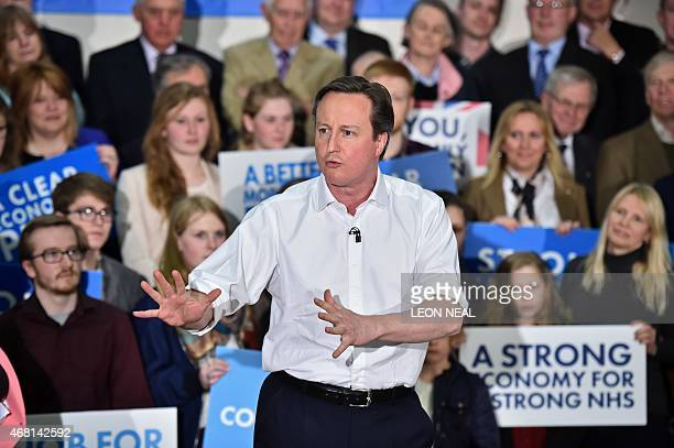 British Prime Minister and Conservative party leader David Cameron gives a speech at a General Election Rally at The Corsham School in Chippenham...