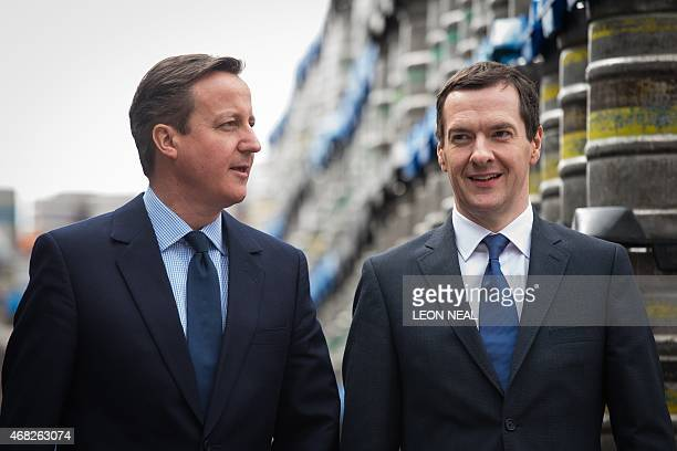 British Prime Minister and Conservative party leader David Cameron and British Finance Minister George Osborne visit the Marston's Brewery in...