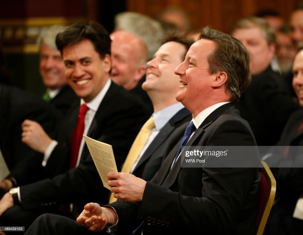 British Prime Minister David Cameron (R) accompanied by Labour party leader Ed Miliband (L) and Deputy Prime Minister Nick Clegg (C) laugh as they wait for the arrival of Irish President Michael D. Higgins to deliver a speech at the Houses of Parliamenton April 08, 2014 in London, United Kingdom. Ireland's President Michael D. Higgins is making the first state visit by a president of the republic since it gained independence from neighbouring Britain. The visit comes three years after Queen Elizabeth II made a groundbreaking trip to the republic, which helped to heal deep-rooted unease and put British-Irish relations on a new footing. Higgins' return visit will be seen as an official sign of further progress following the hard-won peace in Northern Ireland, which remains part of the United Kingdom.