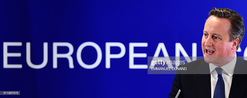 British Prime Minister David Cameron addresses a press conference at end of an European Union (EU) summit in Brussels on February 19, 2016. European leaders sealed a deal with the UK after hours of haggling at a marathon summit, paving the way for a referendum on whether Britain will stay in the EU. The European Union's two top figures, Donald Tusk and Jean-Claude Juncker, presented its 28 leaders with draft proposals at a long-delayed dinner after hours of painstaking face-to-face talks on an issue that threatened place in the union. / AFP / EMMANUEL