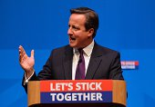 British Prime Minister David Cameron addresses a press conference in Aberdeen Scotland on September 15 ahead of the referendum on Scotland's...