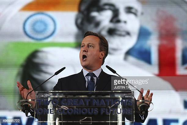 British Prime Minister David Cameron addresses a welcome rally for India's Prime Minister Narendra Modi at Wembley Stadium in London on November 13...
