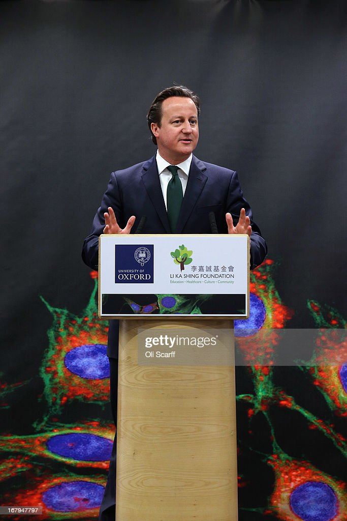 British Prime Minister <a gi-track='captionPersonalityLinkClicked' href=/galleries/search?phrase=David+Cameron+-+Politico&family=editorial&specificpeople=227076 ng-click='$event.stopPropagation()'>David Cameron</a> addresses an audience in the newly opened 'Li Ka Shing Centre for Health Information and Discovery' at Oxford University on May 3, 2013 in Oxford, England. Mr Cameron was joined by Mr Li and the Chancellor of the University of Oxford, Lord Patten, to launch a 90 million GBP initiative in 'big data' processing and drug discovery.