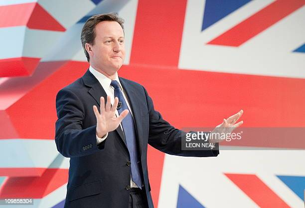 British Prime Minister David Cameron addresses delegates at the SWALEC stadium on March 6 during the Spring Forum at the Welsh Conservative...