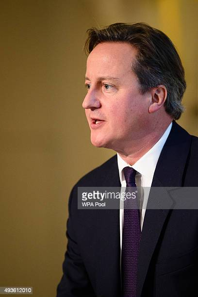 British Prime Minister David Cameron addresses guests and delegates at the UKChina Business Summit in Mansion House on October 21 2015 in London...