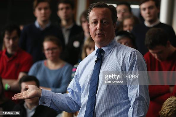 British Prime Minister David Cameron addresses students at Exeter University on April 7 2016 in Exeter England The Government have announced that...