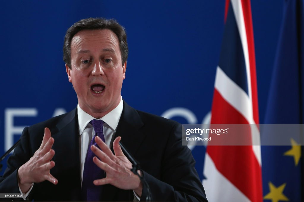 British Prime Minister <a gi-track='captionPersonalityLinkClicked' href=/galleries/search?phrase=David+Cameron+-+Politician&family=editorial&specificpeople=227076 ng-click='$event.stopPropagation()'>David Cameron</a> addresses the media at the headquarters of the Council after reaching a deal on the budget for 2014-20 on February 8, 2013 in Brussels, Belgium. EU leaders have set out the framework for agreeing on a 2014-2020 EU budget, during talks that continued through the night at the European Council meetings in Brussels. The historic deal would see a 34.4 billion Euros cut to EU spending over the next 7 year period.