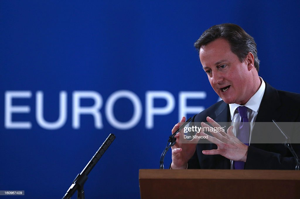 British Prime Minister David Cameron addresses the media at the headquarters of the Council after reaching a deal on the budget for 2014-20 on February 8, 2013 in Brussels, Belgium. EU leaders have set out the framework for agreeing on a 2014-2020 EU budget, during talks that continued through the night at the European Council meetings in Brussels. The historic deal would see a 34.4 billion Euros cut to EU spending over the next 7 year period.