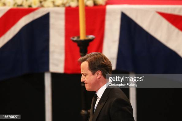 British Prime Minister David Cameron after a reading during the Ceremonial funeral of former British Prime Minister Baroness Thatcher at St Paul's...