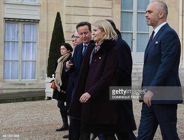 British Prime Minister David Cameron and Danish Prime Minister Helle ThorningSchmidt leave the Elysee Palace before attending a Unity rally Marche...