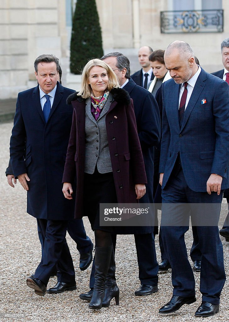 British Prime minister David Cameron and Danish Prime Minister Helle ThorningSchmidt leave the Elysee Palace to attend a Unity rally 'Marche...