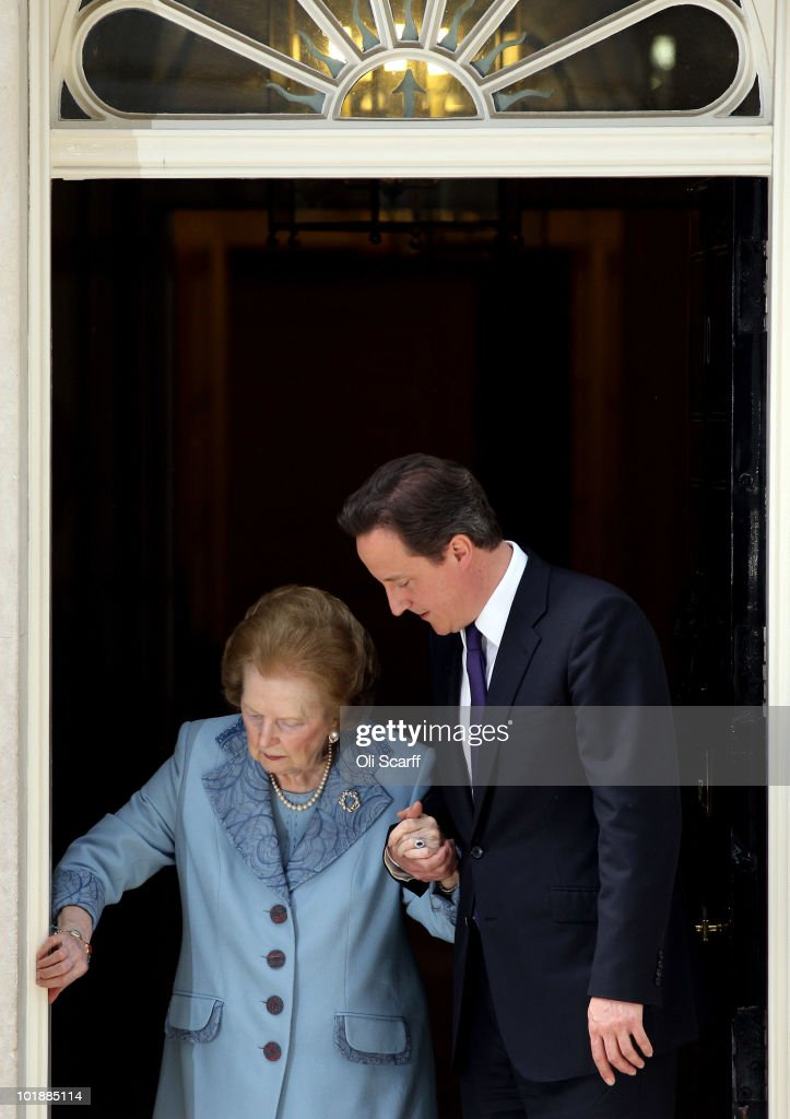 British Prime Minister David Cameron and former Prime Minister Baroness Thatcher leave from Number 10 Downing Street following her visit on June 8, 2010 in London, England. Baroness Thatcher served as Prime Minister of the UK from 1979 to 1990.