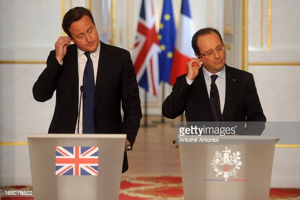 British Prime Minister David Cameron and French President Francois Hollande during a press conference at Elysee Palace on May 22 2013 in Paris France...