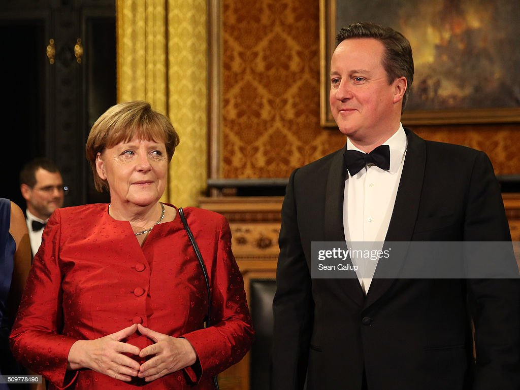 British Prime Minister <a gi-track='captionPersonalityLinkClicked' href=/galleries/search?phrase=David+Cameron+-+Politician&family=editorial&specificpeople=227076 ng-click='$event.stopPropagation()'>David Cameron</a> (R) and German Chancellor <a gi-track='captionPersonalityLinkClicked' href=/galleries/search?phrase=Angela+Merkel&family=editorial&specificpeople=202161 ng-click='$event.stopPropagation()'>Angela Merkel</a> attend the annual Matthiae-Mahl dinner at Hamburg City Hall on February 12, 2016 in Hamburg, Germany. The two leaders are there on the invitation of Hamburg Mayor Olaf Scholz, who reportedly saw the dinner as a gesture to show Germany's hope that Great Britain will remain in the European Union. The Matthiae-Mahl is a Hamburg tradition dating back to 1356 and began as a fest to welcome the spring season and also to honor a foreign official.