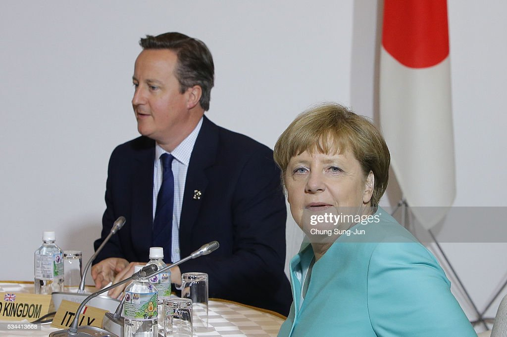 British Prime Minister <a gi-track='captionPersonalityLinkClicked' href=/galleries/search?phrase=David+Cameron+-+Politician&family=editorial&specificpeople=227076 ng-click='$event.stopPropagation()'>David Cameron</a> and German Chancellor <a gi-track='captionPersonalityLinkClicked' href=/galleries/search?phrase=Angela+Merkel&family=editorial&specificpeople=202161 ng-click='$event.stopPropagation()'>Angela Merkel</a> attend the Japan EU EPA/FTA meeting on May 26, 2016 in Kashikojima, Japan. In the two-day summit, the G7 leaders are scheduled to discuss the pressing global issues including counter-terrorism, energy policy, and sustainable development.