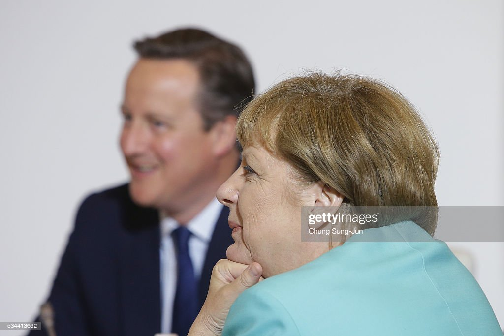 British Prime Minister David Cameron and German Chancellor Angela Merkel attend the Japan EU EPA/FTA meeting on May 26, 2016 in Kashikojima, Japan. In the two-day summit, the G7 leaders are scheduled to discuss the pressing global issues including counter-terrorism, energy policy, and sustainable development.