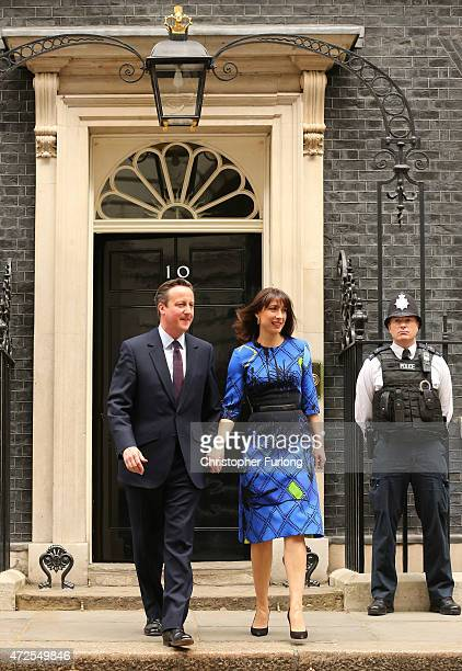 British Prime Minister David Cameron and his wife Samantha Cameron leave Downing Street on May 8 2015 in London England After the United Kingdom went...