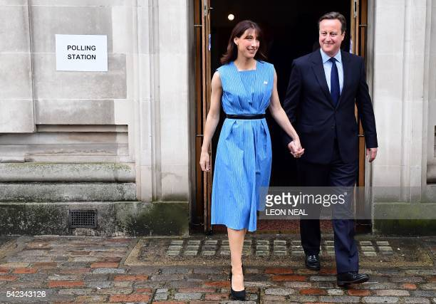 British Prime Minister David Cameron and his wife Samantha leave after casting their votes in the EU referendum at a polling station in London on...