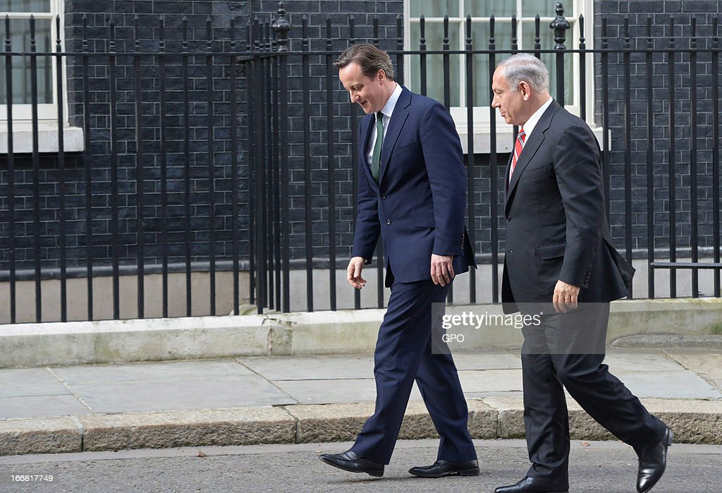 British Prime Minister David Cameron and Israeli Prime Minister Benjamin Netanyahu meet at 10 Downing Street on April 17, 2013 in London, England. The Israeli Prime Minister was one of the 2,000 guests who attended the funeral of former British Prime Minister Baroness Margaret Thatcher in London today.