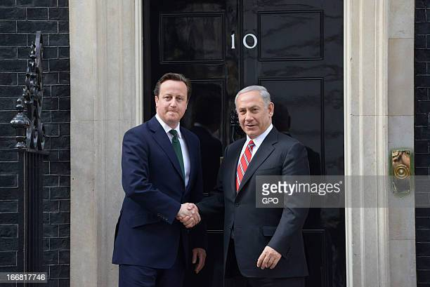 British Prime Minister David Cameron and Israeli Prime Minister Benjamin Netanyahu shake hands on meeting at 10 Downing Street on April 17 2013 in...