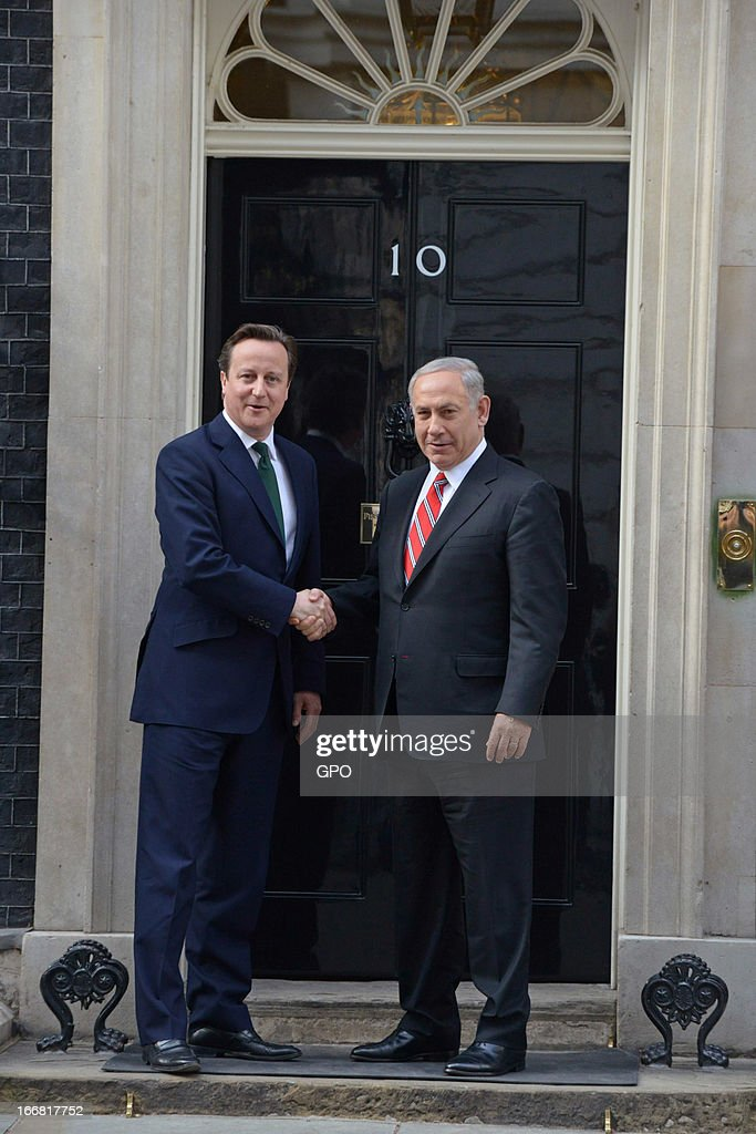 British Prime Minister David Cameron and Israeli Prime Minister Benjamin Netanyahu shake hands on meeting at 10 Downing Street on April 17, 2013 in London, England. The Israeli Prime Minister was one of the 2,000 guests who attended the funeral of former British Prime Minister Baroness Margaret Thatcher in London today.