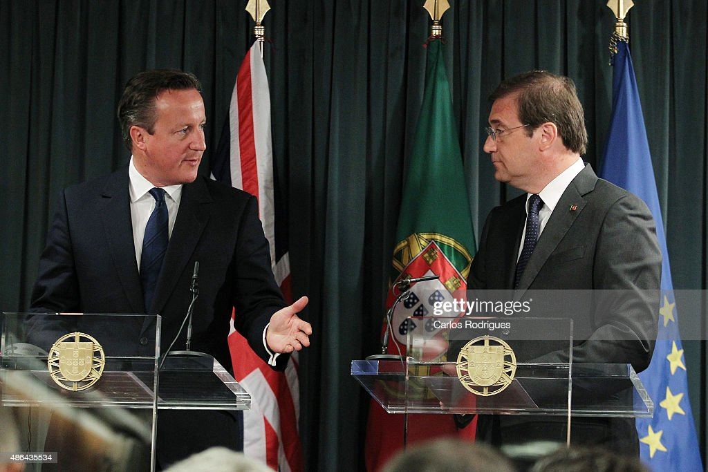 British Prime Minister <a gi-track='captionPersonalityLinkClicked' href=/galleries/search?phrase=David+Cameron+-+Politician&family=editorial&specificpeople=227076 ng-click='$event.stopPropagation()'>David Cameron</a> and Portuguese Prime Minister <a gi-track='captionPersonalityLinkClicked' href=/galleries/search?phrase=Pedro+Passos+Coelho&family=editorial&specificpeople=6912340 ng-click='$event.stopPropagation()'>Pedro Passos Coelho</a> attend a press conference on September 04, 2015 in Lisbon, Portugal. <a gi-track='captionPersonalityLinkClicked' href=/galleries/search?phrase=David+Cameron+-+Politician&family=editorial&specificpeople=227076 ng-click='$event.stopPropagation()'>David Cameron</a> is visiting Spain and Portugal as part of a tour to seek support from fellow European leaders to go along with a renegotiation of Britain's EU membership.