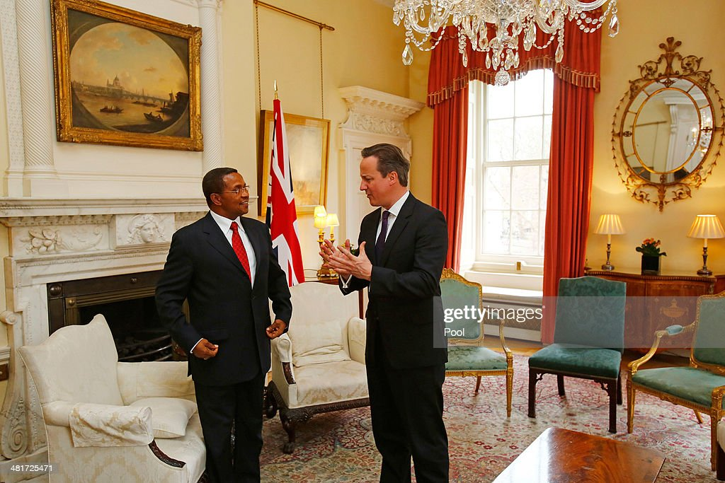 British Prime Minister David Cameron (R) and President of the United Republic of Tanzania <a gi-track='captionPersonalityLinkClicked' href=/galleries/search?phrase=Jakaya+Kikwete&family=editorial&specificpeople=547422 ng-click='$event.stopPropagation()'>Jakaya Kikwete</a> (L) talk at the start of a meeting at No.10 Downing Street on March 31, 2014 in London, England.