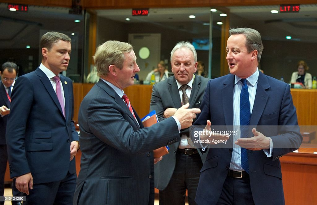 British Prime Minister David Cameron (R) and Prime Minister of Ireland, Ende Kenny (2nd L) attend EU Leaders Summit at the European Union headquarters in Brussels, Belgium on June 28, 2016.