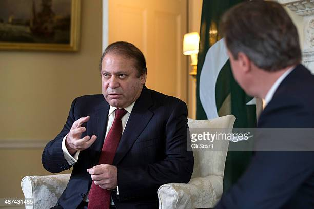 British Prime Minister David Cameron and Prime Minister of Pakistan Muhammad Nawaz Sharif hold a meeting in the White Room of Number 10 Downing...