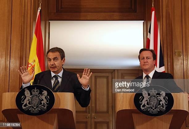 British Prime Minister David Cameron and Spanish Prime Minister Jose Luis Rodriguez Zapatero hold a joint press conference at 10 Downing Streeet on...