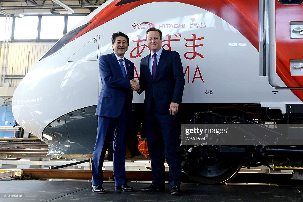 British Prime Minister, <a gi-track='captionPersonalityLinkClicked' href=/galleries/search?phrase=David+Cameron+-+Politician&family=editorial&specificpeople=227076 ng-click='$event.stopPropagation()'>David Cameron</a>, (R) and the Prime Minister of Japan, Shinzo Abe, tour the Hitachi North Pole train maintenance Depot in West London on May 5, 2016 in London, England. Prime Minister Shinzo Abe is on a week-long tour of Europe and Russia ahead of hosting this month's G-7 summit. Prime Minister Abe has warned that Brexit would make the UK 'less attractive' to Japanese investors.