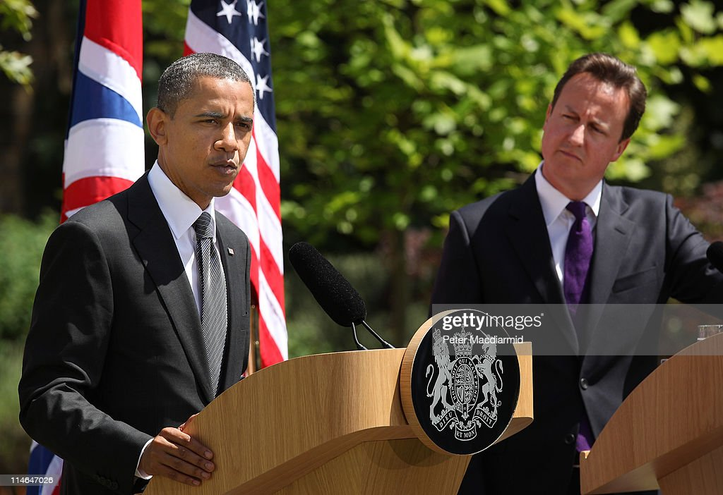 British Prime Minister David Cameron and US President Barack Obama hold a joint press conference at Lancaster House on May 25, 2011 in London, England. The 44th President of the United States Barack Obama and First Lady Michelle Obama are in the UK for a two day State Visit at the invitation of HM Queen Elizabeth II. Last night they attended a state banquet at Buckingham Palace and today's events include talks at Downing Street and the President will address both houses of Parliament at Westminster Hall.
