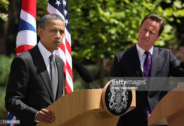 British Prime Minister David Cameron and US President Barack Obama hold a joint press conference at Lancaster House on May 25 2011 in London England...