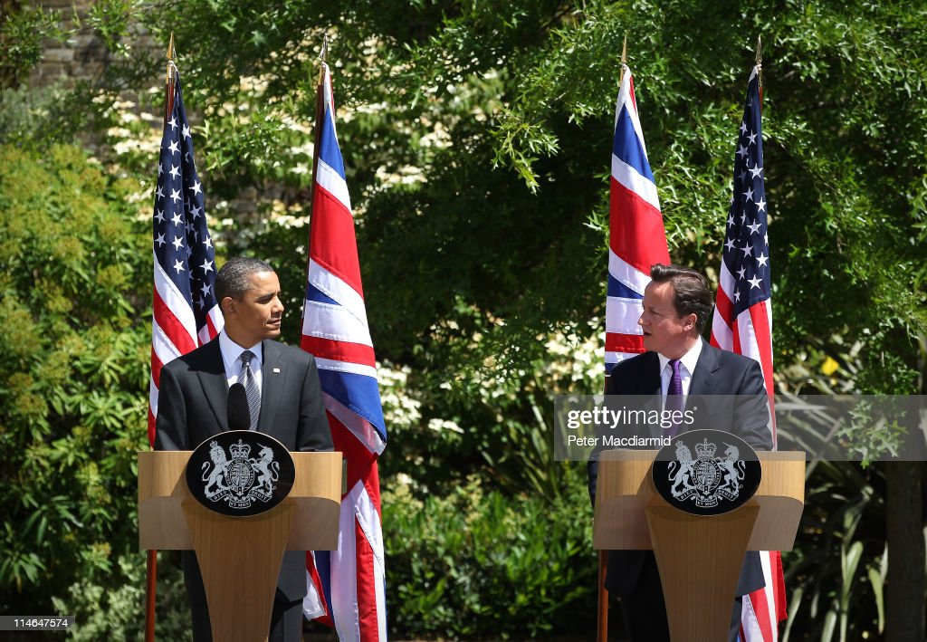 British Prime Minister David Cameron (R) and US President Barack Obama hold a joint press conference at Lancaster House on May 25, 2011 in London, England. The 44th President of the United States Barack Obama and First Lady Michelle Obama are in the UK for a two day State Visit at the invitation of HM Queen Elizabeth II. Last night they attended a state banquet at Buckingham Palace and today's events include talks at Downing Street and the President will address both houses of Parliament at Westminster Hall.