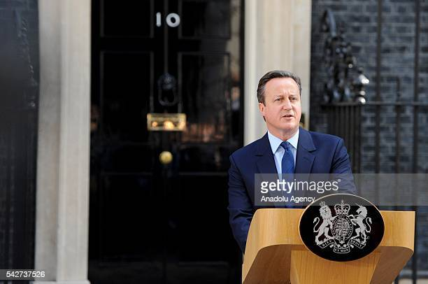 British Prime Minister David Cameron announces his resignation at No 10 Downing street after the UK has voted by 52% to 48% to leave the European...