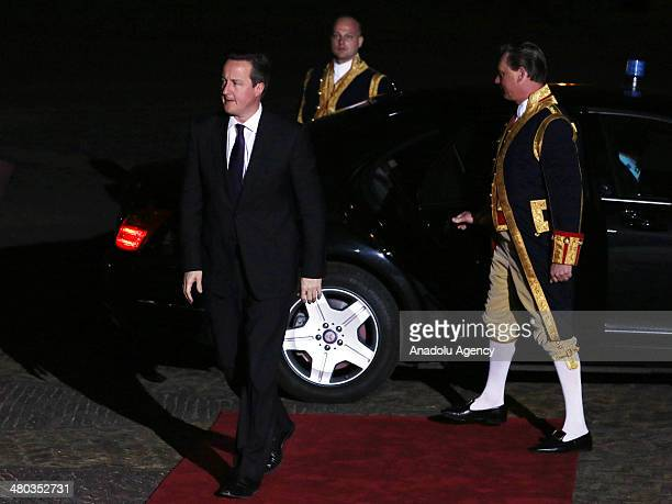British Prime Minister David Cameron arrives at Huis ten Bosch for a dinner for delagates gathering for the Nuclear Security Summit 2014 hosted by...