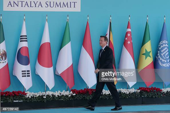 British Prime Minister David Cameron arrives for the official welcome ceremony on day one of the G20 Turkey Leaders Summit on November 15 2015 in...