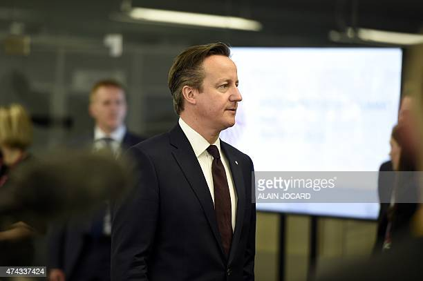 British prime minister David Cameron arrives for the second day of the fourth European Union eastern Partnership Summit in Riga on May 22 2015 as...
