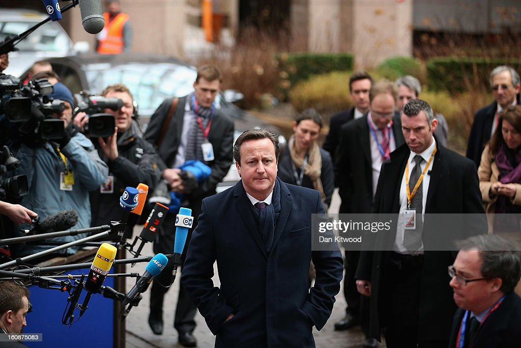 British Prime Minister David Cameron arrives for the start of the European Council Meeting on February 7, 2013 in Brussels, Belgium. The President of the European Council, Herman Van Rompuy has announced that he will aim to reach an agreement on the EU's 2014-2020 budget during the two-day summit, which takes place on February 7 and 8. Cameron is expected to demand further cuts or a freeze to EU spending to reflect the national austerity measures implemented across Europe, amid stiff opposition from EU funded countries.