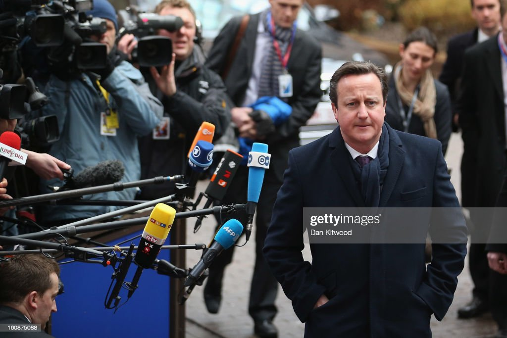 British Prime Minister <a gi-track='captionPersonalityLinkClicked' href=/galleries/search?phrase=David+Cameron+-+Politician&family=editorial&specificpeople=227076 ng-click='$event.stopPropagation()'>David Cameron</a> arrives for the start of the European Council Meeting on February 7, 2013 in Brussels, Belgium. The President of the European Council, Herman Van Rompuy has announced that he will aim to reach an agreement on the EU's 2014-2020 budget during the two-day summit, which takes place on February 7 and 8. Cameron is expected to demand further cuts or a freeze to EU spending to reflect the national austerity measures implemented across Europe, amid stiff opposition from EU funded countries.