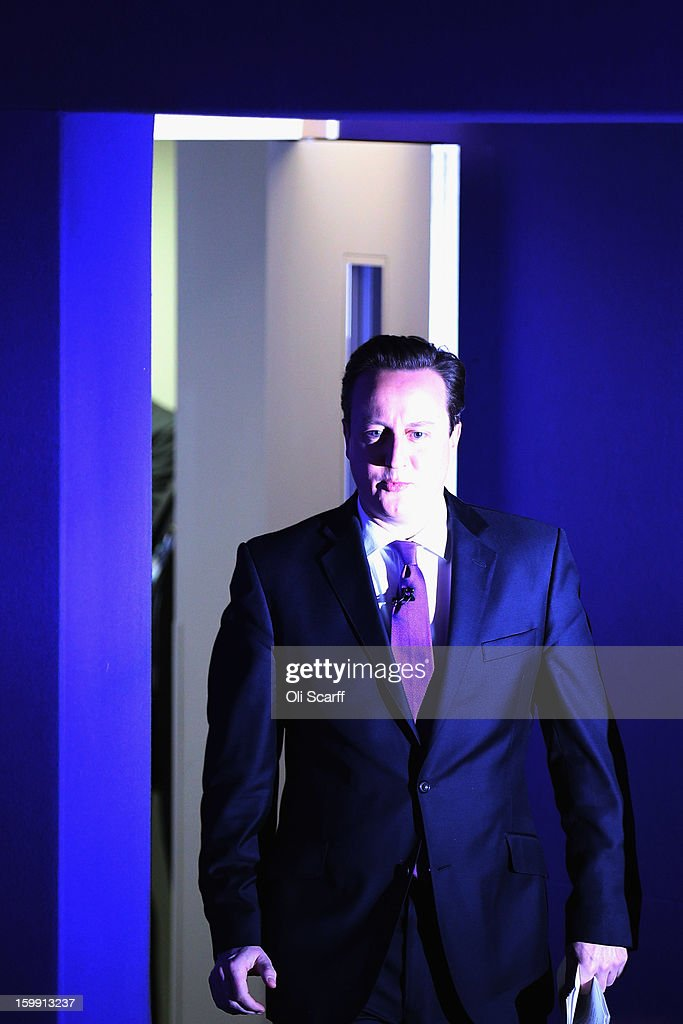 British Prime Minister David Cameron arrives to deliver his long-awaited speech on the UK's relationship with the EU on January 23, 2013 in London, England. Mr Cameron has promised a referendum on EU membership should the Conservatives win the next election.