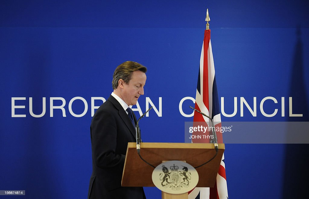 British Prime Minister David Cameron arrives to give a press conference at the EU Headquarters, on November 23, 2012 in Brussels, after a two-day European Union leaders summit called to agree a hotly-contested trillion-euro budget through 2020. EU Council President Herman Van Rompuy said today that an EU budget deal was within reach early next year, after a two-day summit collapsed without agreement.
