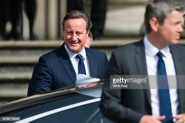 British Prime Minister David Cameron arrives to make a speech on the European Union at the British Museum on May 9 2016 in London England Prime...