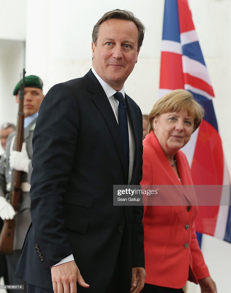 British Prime Minister David Cameron arrives to meet with German Chancellor Angela Merkel at the Chancellery on June 24, 2015 in Berlin, Germany. The two leaders are meeting as creditors, European Union officials and members of the Greek government scramble to find a solution to avoid a Greek state bankruptcy and departure by Greece from the Eurozone.