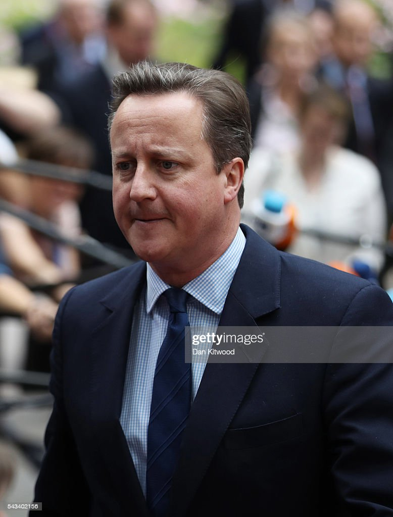 British Prime Minister <a gi-track='captionPersonalityLinkClicked' href=/galleries/search?phrase=David+Cameron+-+Politician&family=editorial&specificpeople=227076 ng-click='$event.stopPropagation()'>David Cameron</a> attends a European Council Meeting at the Council of the European Union on June 28, 2016 in Brussels, Belgium. British Prime Minister <a gi-track='captionPersonalityLinkClicked' href=/galleries/search?phrase=David+Cameron+-+Politician&family=editorial&specificpeople=227076 ng-click='$event.stopPropagation()'>David Cameron</a> will hold talks with other EU leaders in what will likely be his final scheduled meeting with the full European Council before he stands down as Prime Minister. The meetings come at a time of economic and political uncertainty following the referendum result last week which saw the UK vote to leave the European Union.