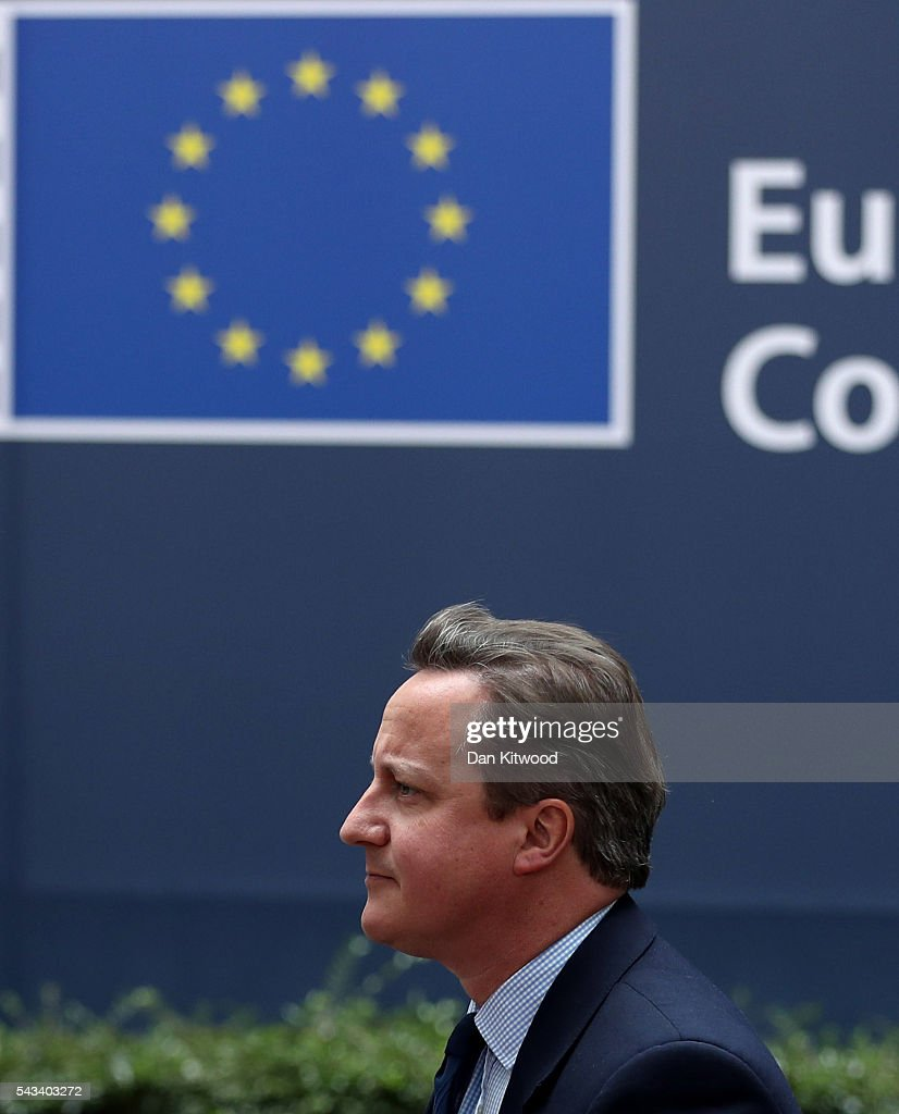 British Prime Minister <a gi-track='captionPersonalityLinkClicked' href=/galleries/search?phrase=David+Cameron+-+Politicus&family=editorial&specificpeople=227076 ng-click='$event.stopPropagation()'>David Cameron</a> attends a European Council Meeting at the Council of the European Union on June 28, 2016 in Brussels, Belgium. British Prime Minister <a gi-track='captionPersonalityLinkClicked' href=/galleries/search?phrase=David+Cameron+-+Politicus&family=editorial&specificpeople=227076 ng-click='$event.stopPropagation()'>David Cameron</a> will hold talks with other EU leaders in what will likely be his final scheduled meeting with the full European Council before he stands down as Prime Minister. The meetings come at a time of economic and political uncertainty following the referendum result last week which saw the UK vote to leave the European Union.