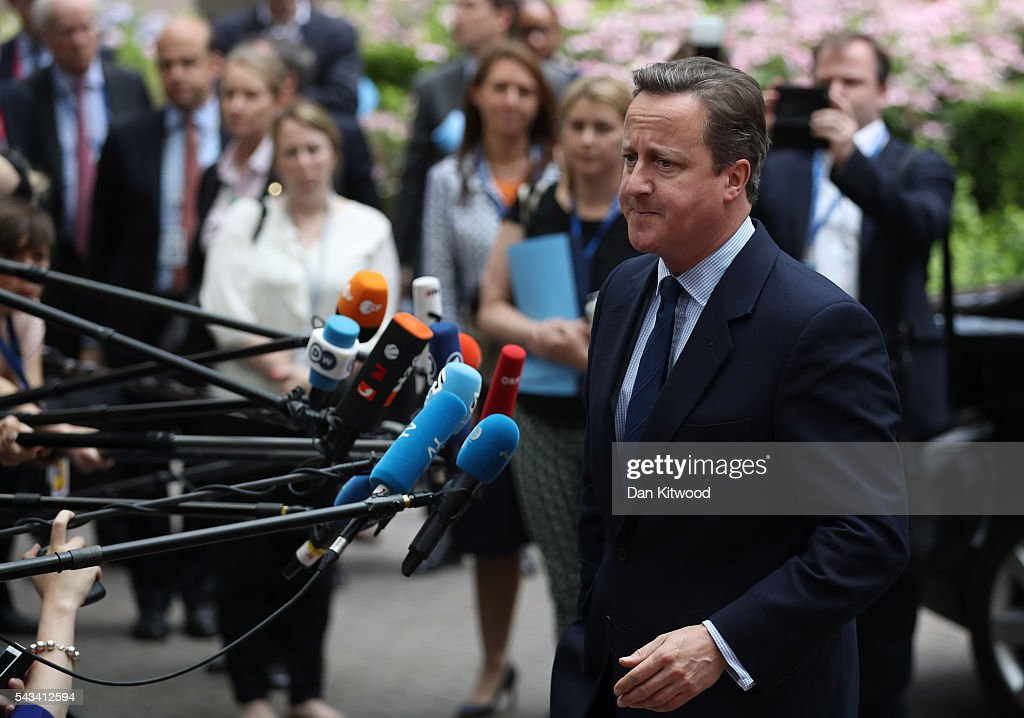 British Prime Minister David Cameron attends a European Council Meeting at the Council of the European Union on June 28, 2016 in Brussels, Belgium. British Prime Minister David Cameron will hold talks with other EU leaders in what will likely be his final scheduled meeting with the full European Council before he stands down as Prime Minister. The meetings come at a time of economic and political uncertainty following the referendum result last week which saw the UK vote to leave the European Union.