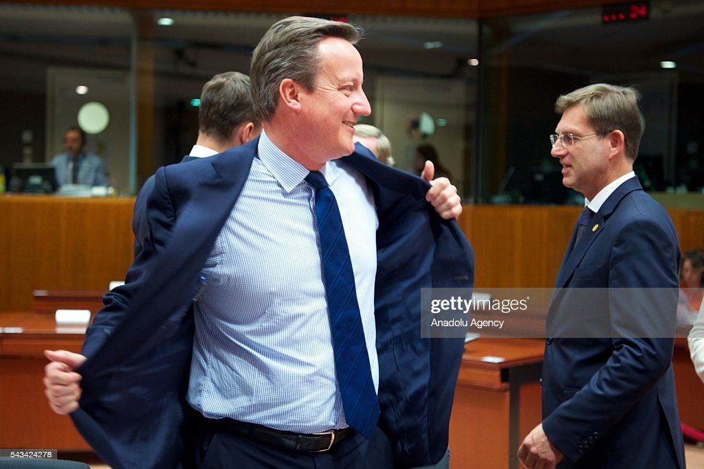 British Prime Minister David Cameron attends EU Leaders Summit at the European Union headquarters in Brussels, Belgium on June 28, 2016.